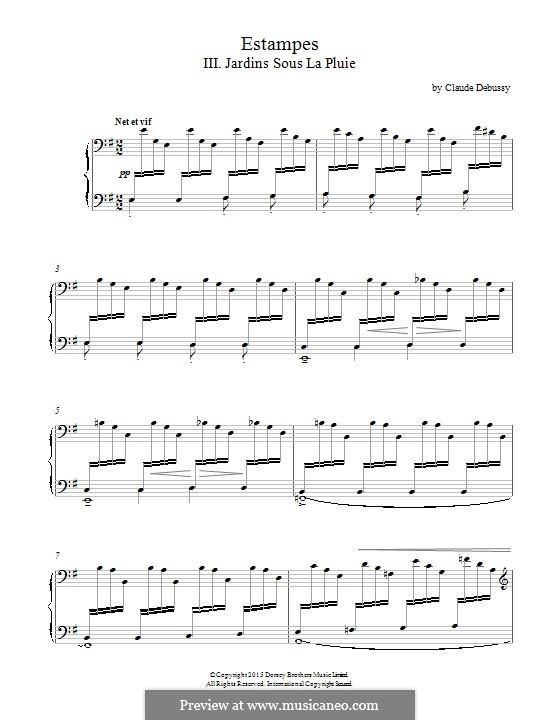 Эстампы, L.100: No.3 Jardins sous la pluie by Клод Дебюсси