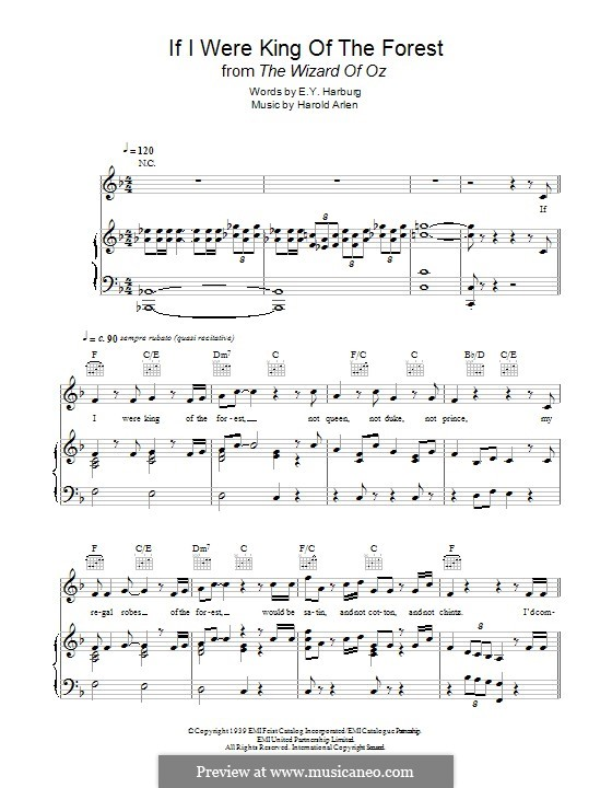 If I Were King of the Forest: Для голоса и фортепиано (или гитары) by Harold Arlen