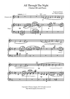 All Through the Night: For clarinet Bb and piano by folklore