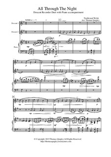 All Through the Night: For descant recorder duet with piano accompaniment by folklore