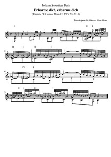 Ich armer Mensch, ich Sündenknecht, BWV 55: Nr.3 Erbarme dich, erbarme dich, für Gitarre by Иоганн Себастьян Бах