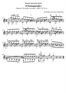 Erschallet, ihr Lieder, erklinget, ihr Saiten!, BWV 172: Nr.4 O Seelenparadies, für Gitarre by Иоганн Себастьян Бах