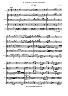 Concerto for Flautino and Strings in A Minor, RV 445: Score and parts by Антонио Вивальди