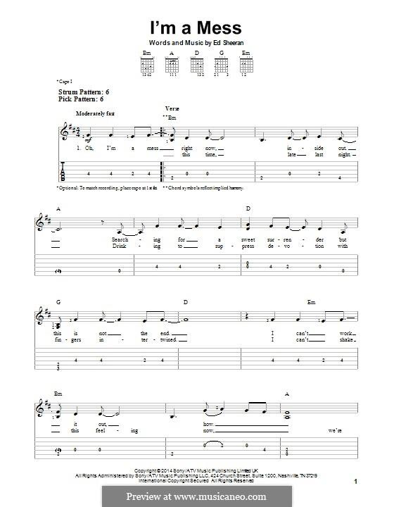 I'm a Mess: Гитарная табулатура by Ed Sheeran