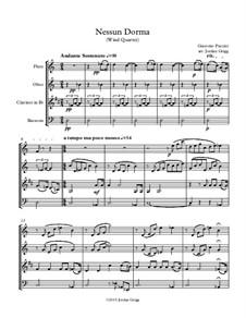 Turandot: Nessun dorma, for wind quartet by Джакомо Пуччини