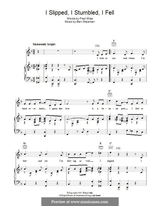 I Slipped, I Stumbled, I Fell: Для голоса и фортепиано (или гитары) by Ben Weisman