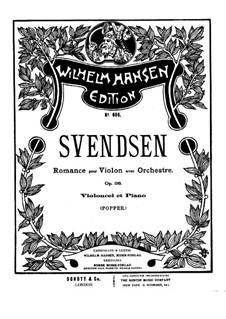 Романс, Op.26: Для скрипки (или виолончели) и фортепиано – партитура, сольная партия by Юхан Свенсен