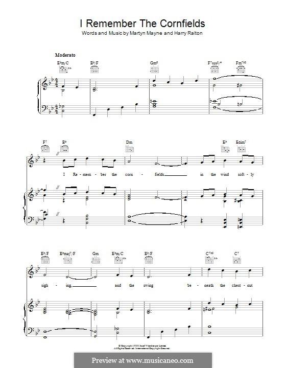 I Remember the Cornfields: Для голоса и фортепиано (или гитары) by Martin Mayne, Harry Ralton