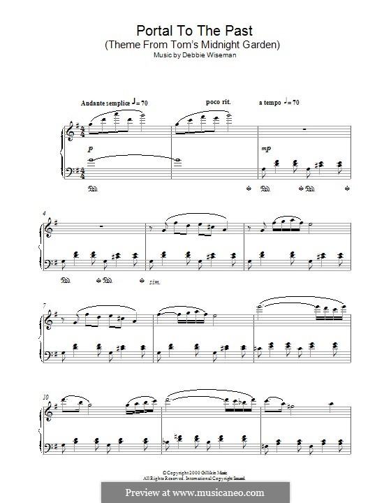 Portal to the Past (Theme from Tom's Midnight Garden): Для фортепиано by Debbie Wiseman