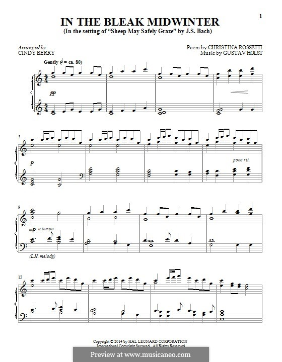In the Bleak Midwinter: Для фортепиано by Густав Холст