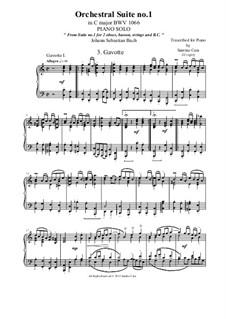 Сюита для оркестра No.1 до мажор, BWV 1066: Gavotte 1 and 2, for piano solo by Иоганн Себастьян Бах