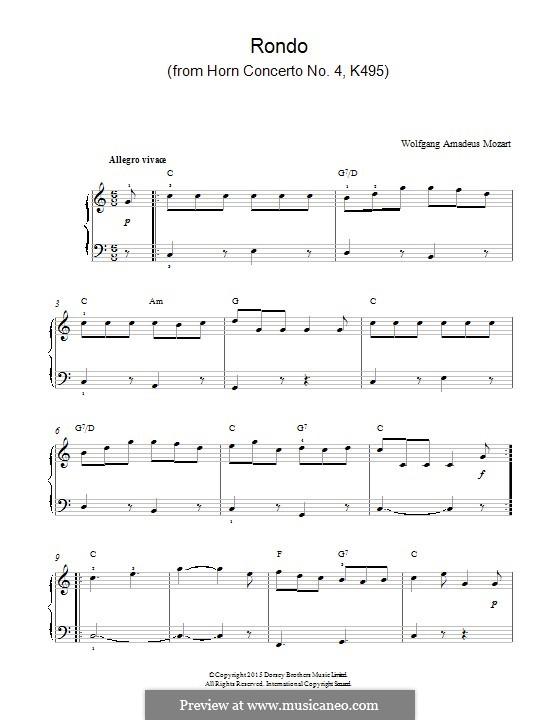 Концерт для валторны с оркестром No.4 ми-бемоль мажор, K.495: Rondo, for piano by Вольфганг Амадей Моцарт