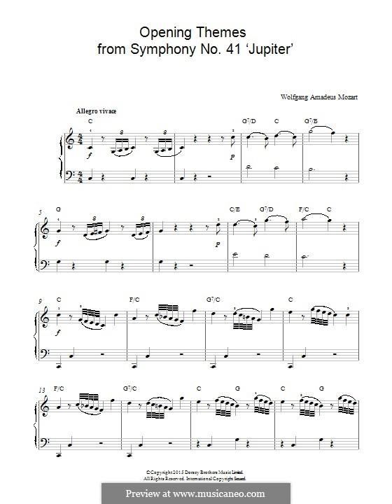 Симфония No.41 до мажор 'Юпитер', K.551: Opening Themes, for piano by Вольфганг Амадей Моцарт