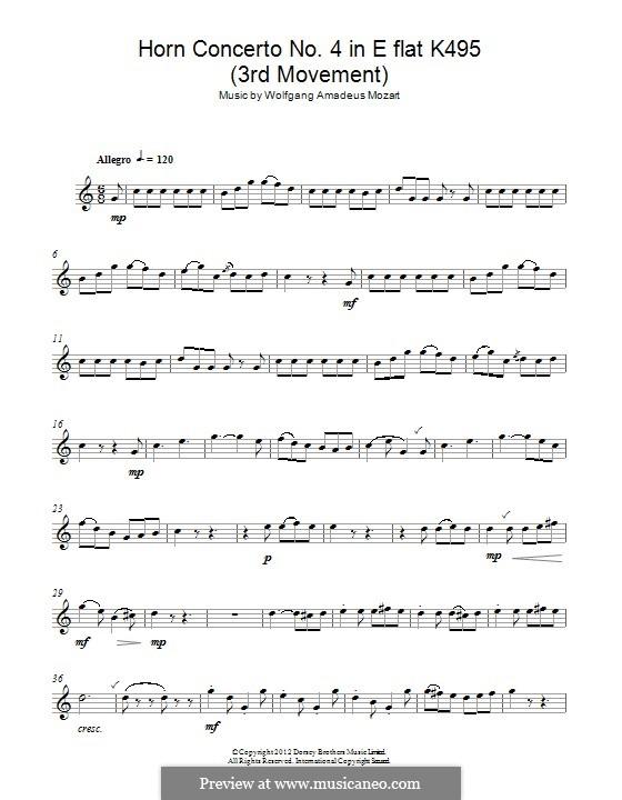 Концерт для валторны с оркестром No.4 ми-бемоль мажор, K.495: Rondo, for alto saxophone by Вольфганг Амадей Моцарт