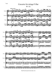 Concerto for Strings in F Major, RV 142: Score and parts by Антонио Вивальди