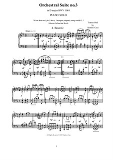Bourrée: Аранжировка для фортепиано by Иоганн Себастьян Бах