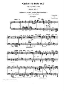 Gigue: Аранжировка для фортепиано by Иоганн Себастьян Бах