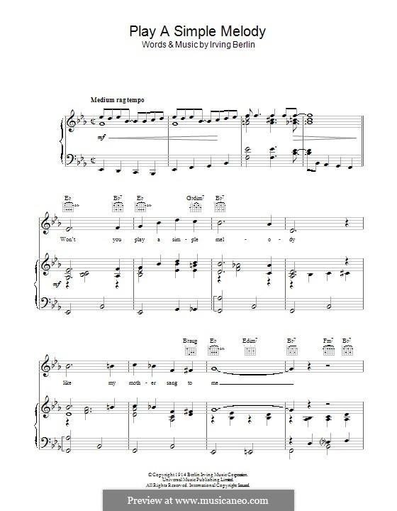 Play a Simple Melody: Для голоса и фортепиано by Ирвинг Берлин