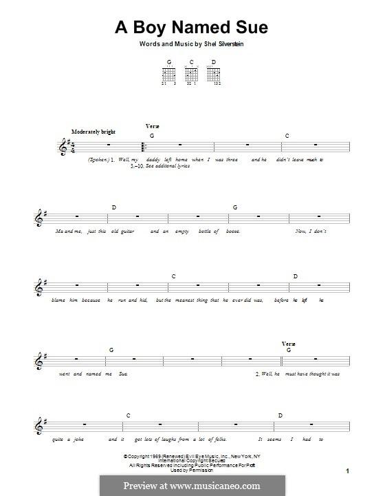 A Boy Named Sue (Johnny Cash): Гитарная табулатура by Shel Silverstein