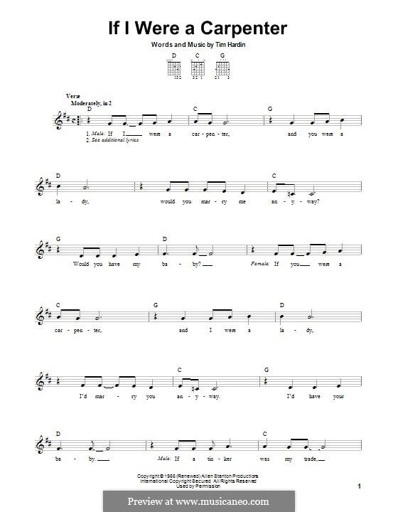 If I Were a Carpenter: Гитарная табулатура by Tim Hardin