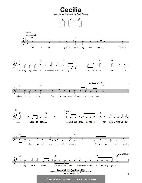 Cecilia (Simon & Garfunkel): Гитарная табулатура by Paul Simon