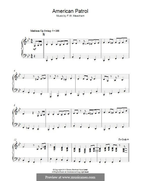 Американский патруль, Op.92: Для фортепиано by Франк У. Мичхэм