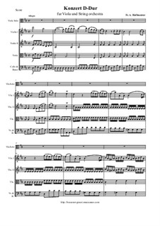Concerto for Viola and String Orchestra in D Major: Score, parts by Франц Антон Хофмайстер