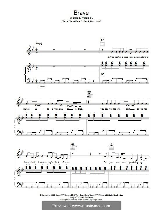 Brave: Для голоса и фортепиано (или гитары) by Sara Bareilles, Jack Antonoff