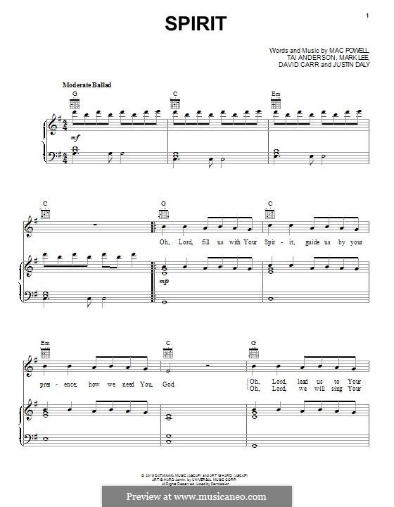 Spirit (Third Day): Для голоса и фортепиано (или гитары) by Tai Anderson, David Carr, Mac Powell, Mark Lee, Justin Daly
