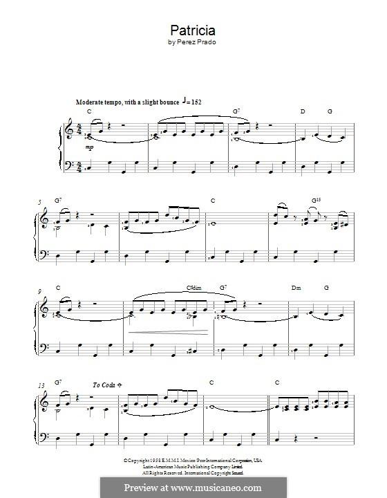 Patricia: Для голоса и фортепиано (или гитары) by Dámaso Pérez Prado