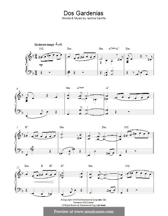 Dos Gardenias (The Buena Vista Social Club): Для фортепиано by Isolina Carrillo