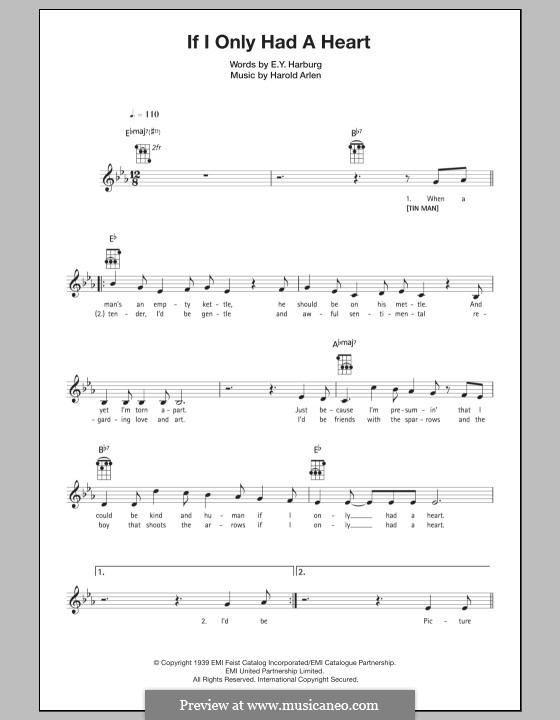If I Only Had a Heart (from The Wizard of Oz): Для укулеле by Harold Arlen