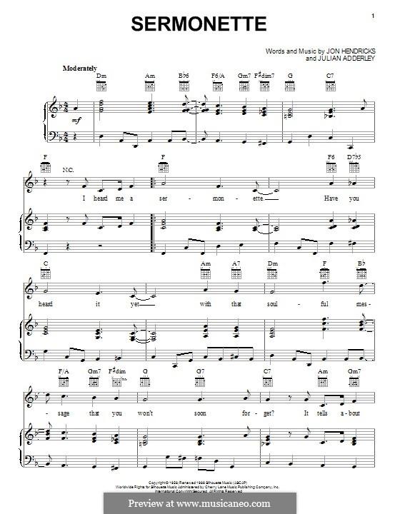 Sermonette: Для голоса и фортепиано (или гитары) by John Hendricks, Julian Cannonball Adderley