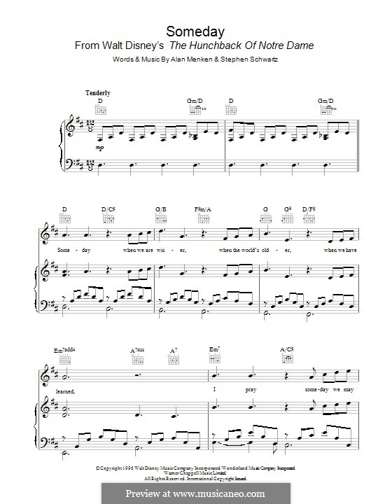 Someday (from Walt Disney's The Hunchback of Notre Dame): Для голоса и фортепиано (или гитары) by Alan Menken
