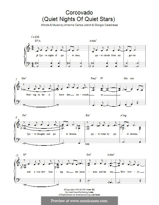 Corcovado (Quiet Nights of Quiet Stars): Для голоса и фортепиано by Antonio Carlos Jobim