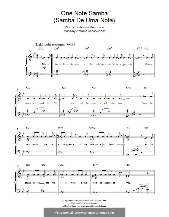 One Note Samba (Samba De Uma Nota): Для голоса и фортепиано by Antonio Carlos Jobim