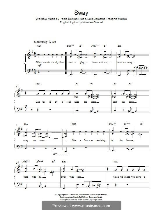 Sway (Quien Sera): Для голоса и фортепиано by Pablo Beltran Ruiz
