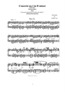 Концерт для клавесина и струнных инструментов No.1 ре минор, BWV 1052: Movement II Adagio, for piano version by Иоганн Себастьян Бах