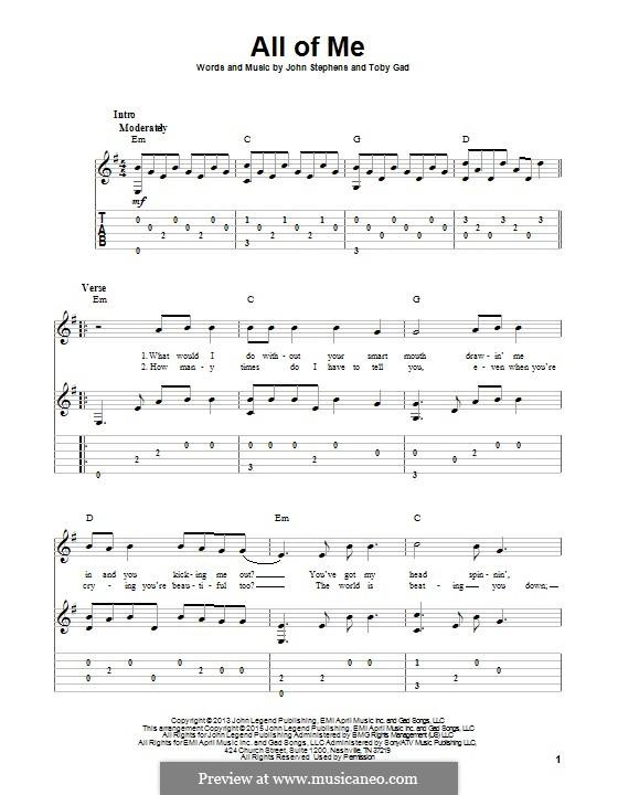 All of Me: Гитарная табулатура by John Stephens, Tobias Gad
