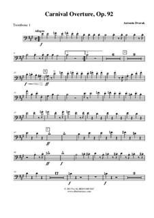 Карнавал, B.169 Op.92: Trombone Bass Clef 1 (Transposed Part) by Антонин Дворжак