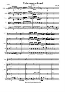 Concerto for Violin and Strings in B Minor, RV 390: Score and all parts by Антонио Вивальди