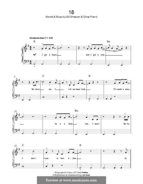 18 (One Direction): Для фортепиано by Ed Sheeran, Oliver Frank