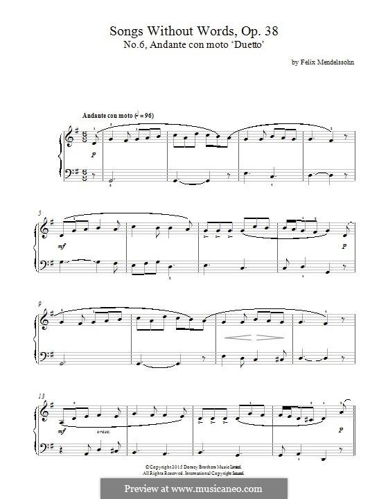 Песни без слов, Op.38: No.6 Andante con moto by Феликс Мендельсон-Бартольди