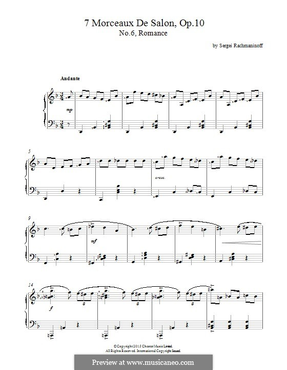 Семь салонных пьес, Op.10: No.6 Romance by Сергей Рахманинов