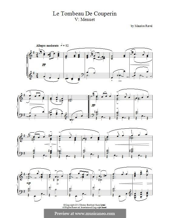 Гробница Куперена для фортепиано, M.68: Менуэт by Морис Равель