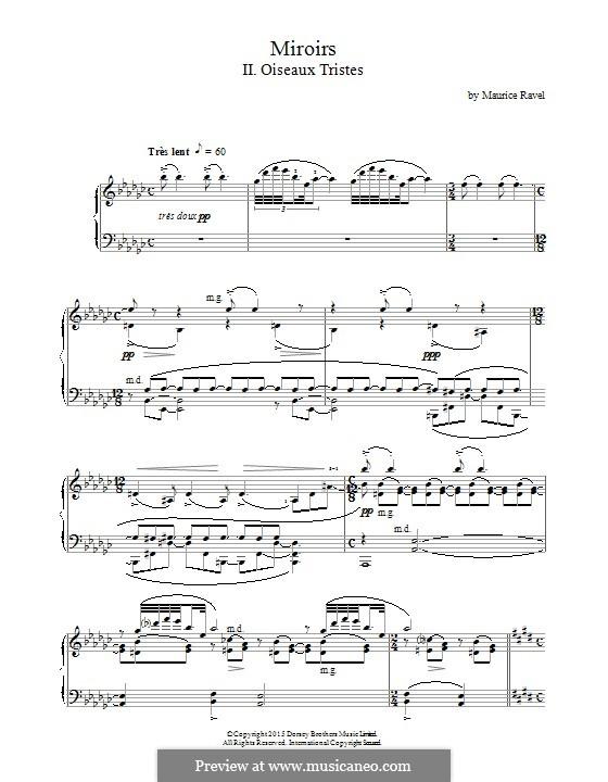 Отражения. Сюита для фортепиано, M.43: Movement II Oiseaux Tristes by Морис Равель