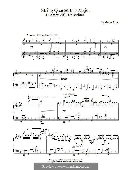 Струнный квартет фа мажор, M.35: Movement II Assez Vif, Très Rythmé, for piano by Морис Равель