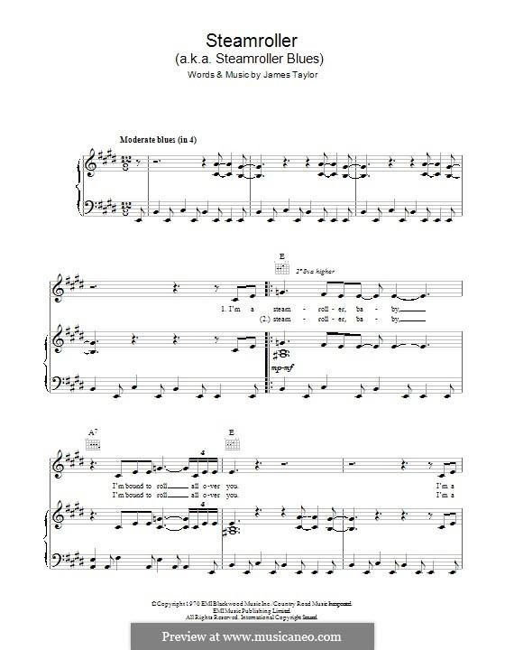 Steamroller (Steamroller Blues): Для голоса и фортепиано (или гитары) by James Taylor