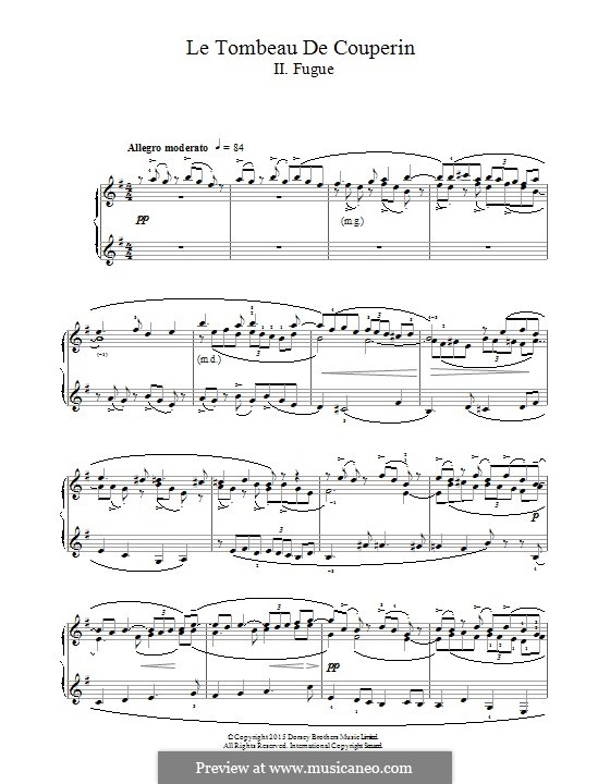 Гробница Куперена для фортепиано, M.68: Фуга by Морис Равель