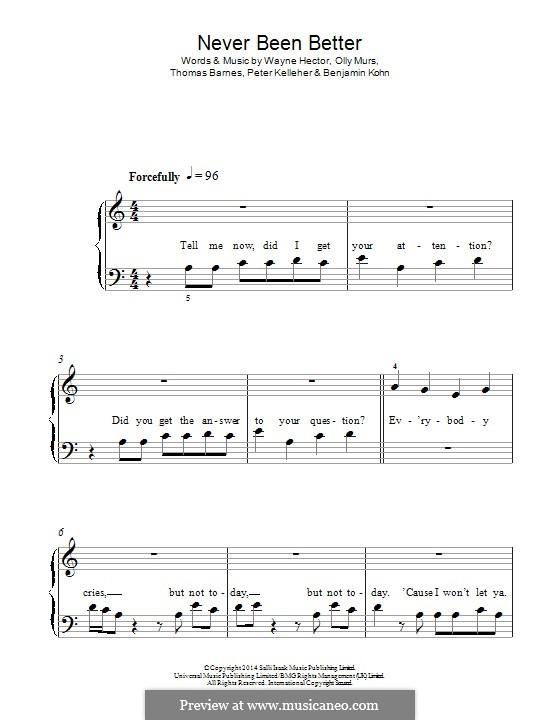 Never Been Better: Для фортепиано by Benjamin Kohn, Olly Murs, Peter Kelleher, Thomas Barnes, Wayne Anthony Hector